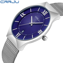 CRRJU Fashion Simple Mens Watches Stainless Steel font b Quartz b font Watch Men s font
