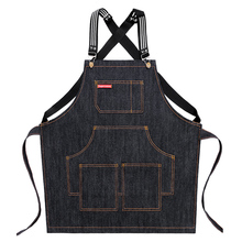 Apron denim Korean fashion men and women barista barber shop painting children's restaurant ribbon