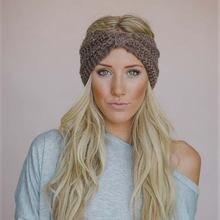 Зимняя теплая вязаная повязка на голову тюрбан для женщин крючком