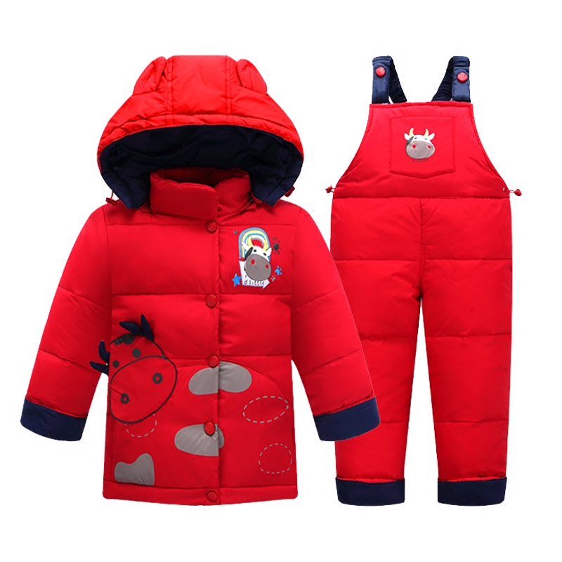 ФОТО 2 pcs / set kids clothes winter baby girls clothing sets boys clothes down coat suit  jacket + trousers