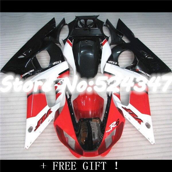 Hey-ABS carénage kit adapté pour R6 1998 1999 2000 2001 2002 YZF-R6 rouge blanc noir YZF R6 carénages ensemble 98 99 00 01 02 pour Yamaha