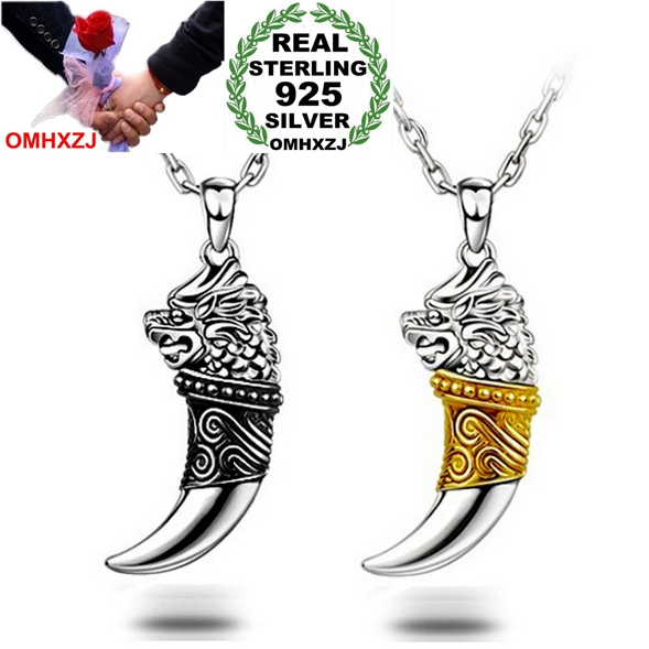 OMHXZJ Wholesale fashion star jewelry Wolf tooth 925 sterling silver Dragon's totem man pendant Charms PE37 NO Chain Necklace