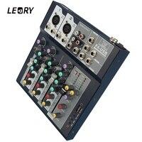 LEORY Profissional 4 Channel DJ Mixer Controller With Built in Amplifier Metal DJ Mezclador USB DJ Console For Audio Karaoke