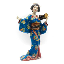 Decorative Sculpture Collectibles Japanese Geisha Doll Glazed Ceramic Statue Home Decor Collections Art