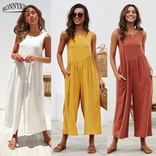 RONNYKISE Solid Color Sleeveless Jumpsuits Womens Fashion Sexy Backless Loose Playsuits Summer Casual Women Clothes