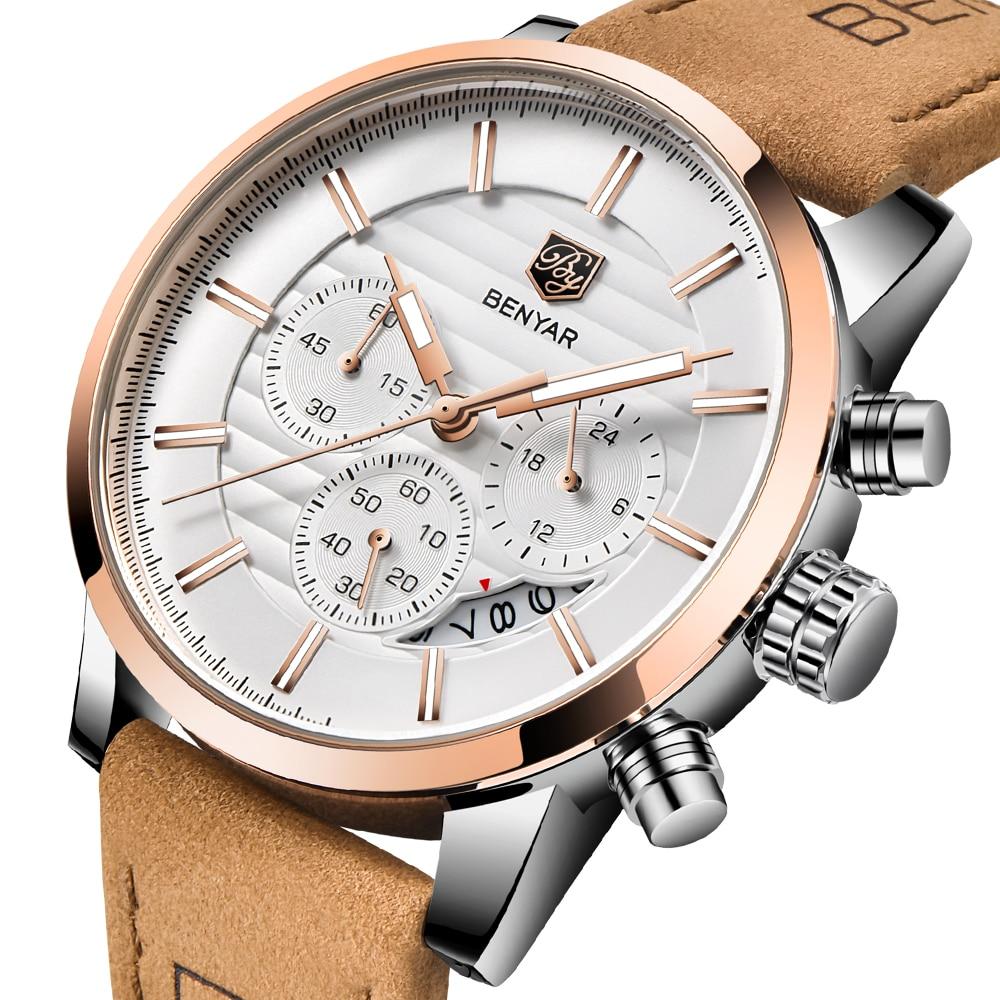 BENYAR 2018 New Top Brand Luxury Men Watch Casual Fashion Quartz Watch Men Analog Leather Strap Male Waterproof Wristwatch Clock цена
