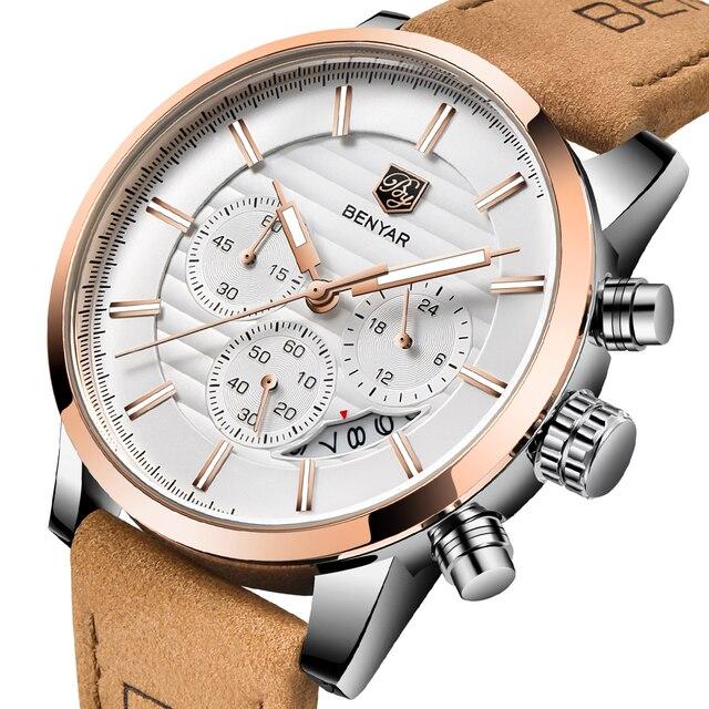 59dcf3458192 BENYAR 2018 nuevo Top marca de lujo hombres reloj moda Casual reloj de  cuarzo hombres reloj