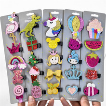 5 Pcs/Set Glitter Cartoon Unicorn Flamingo Sequins Hair Clips Girls Animal Hairpin Paillette Pins Toddler Accessories