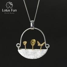 Colgante de jardín pequeño para mujer, joyería fina hecha a mano, estilo Natural, Lotus Fun, sin collar
