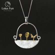 Lotus Fun Real 925 Sterling Silver Natural Style Handmade Fine Jewelry My Little Garden Pendant without Necklace for Women