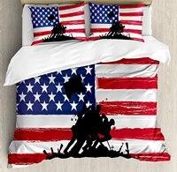 Американский постельное белье Благослови Америку силуэты американских солдат США Флаг Фон доблесть тема, 4 шт. Постельное белье