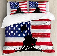 American Duvet Cover Set Bless America Silhouettes of American Soldiers USA Flag Background Valor Theme, 4 Piece Bedding Set