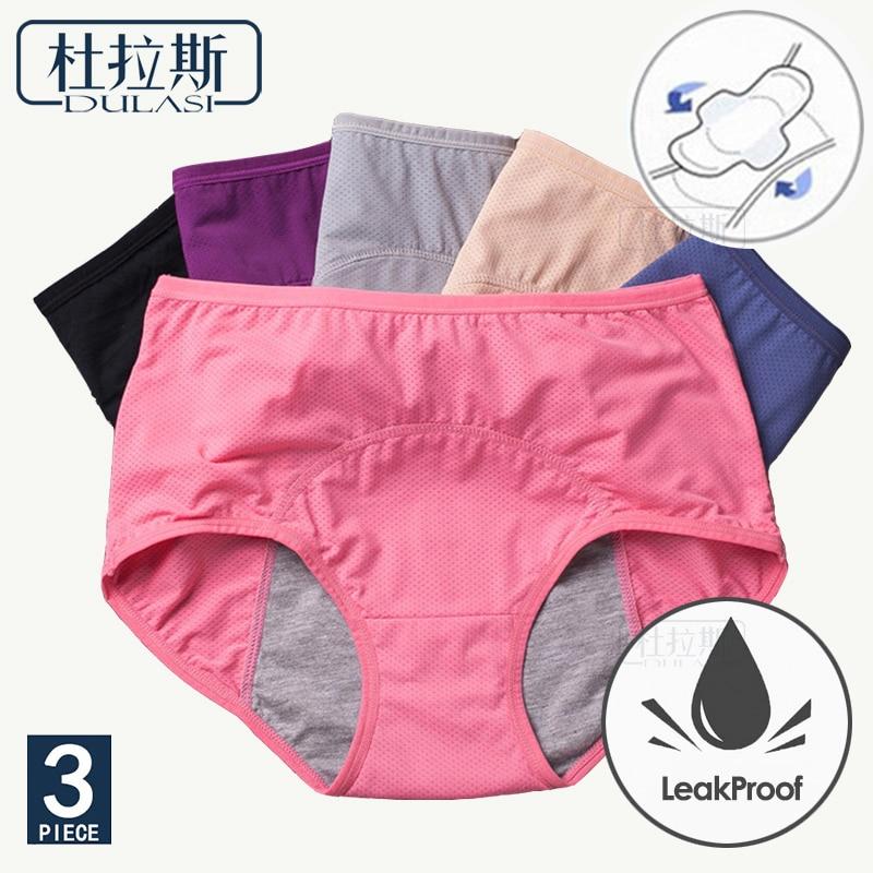 3 unids/set Menstrual bragas pantalones fisiológicos pantalones a prueba de fugas ropa interior de las mujeres Período de algodón transpirable alta cintura caliente de la mujer