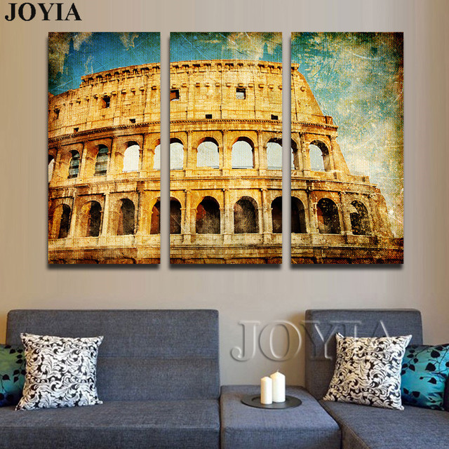 Roman colosseum classic canvas picture vintage style italian architecture wall art for home living room decor