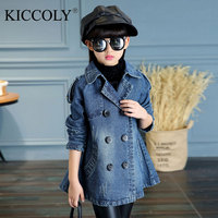Kids Denim Jackets Girls Double Breasted Outerwear Spring Autumn 2017 Teenage Girls Trench Coats Fashion Atmosphere