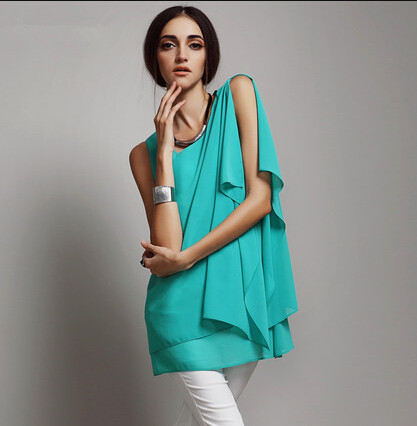 Plus size S-5XL 6XL vestidos femininos, as mulheres casuais blusa & camisas de chiffon, menina breve colete chiffon tanque, assimétrica blusas