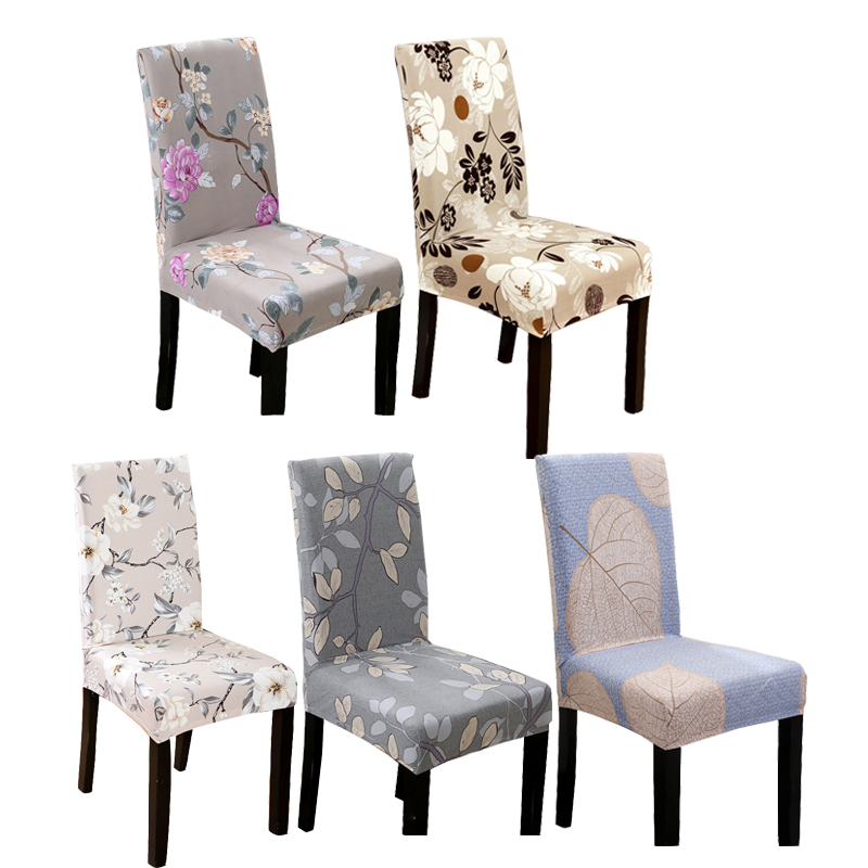 Monily Universal Size Modern Dining Room Chair Cover Stretch Spandex Elastic Seat Cover Floral Geometric Pattern Chair Seat Case