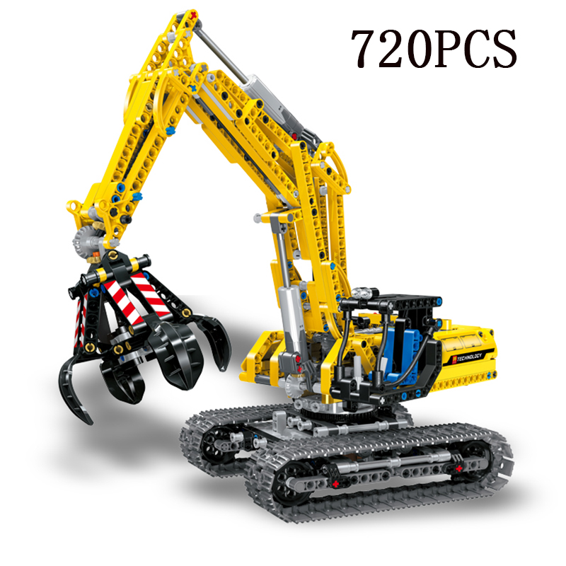 720 pcs compatible with legoingly cars technic excavator model building bricks city 10262 toys birthday gifts for kids