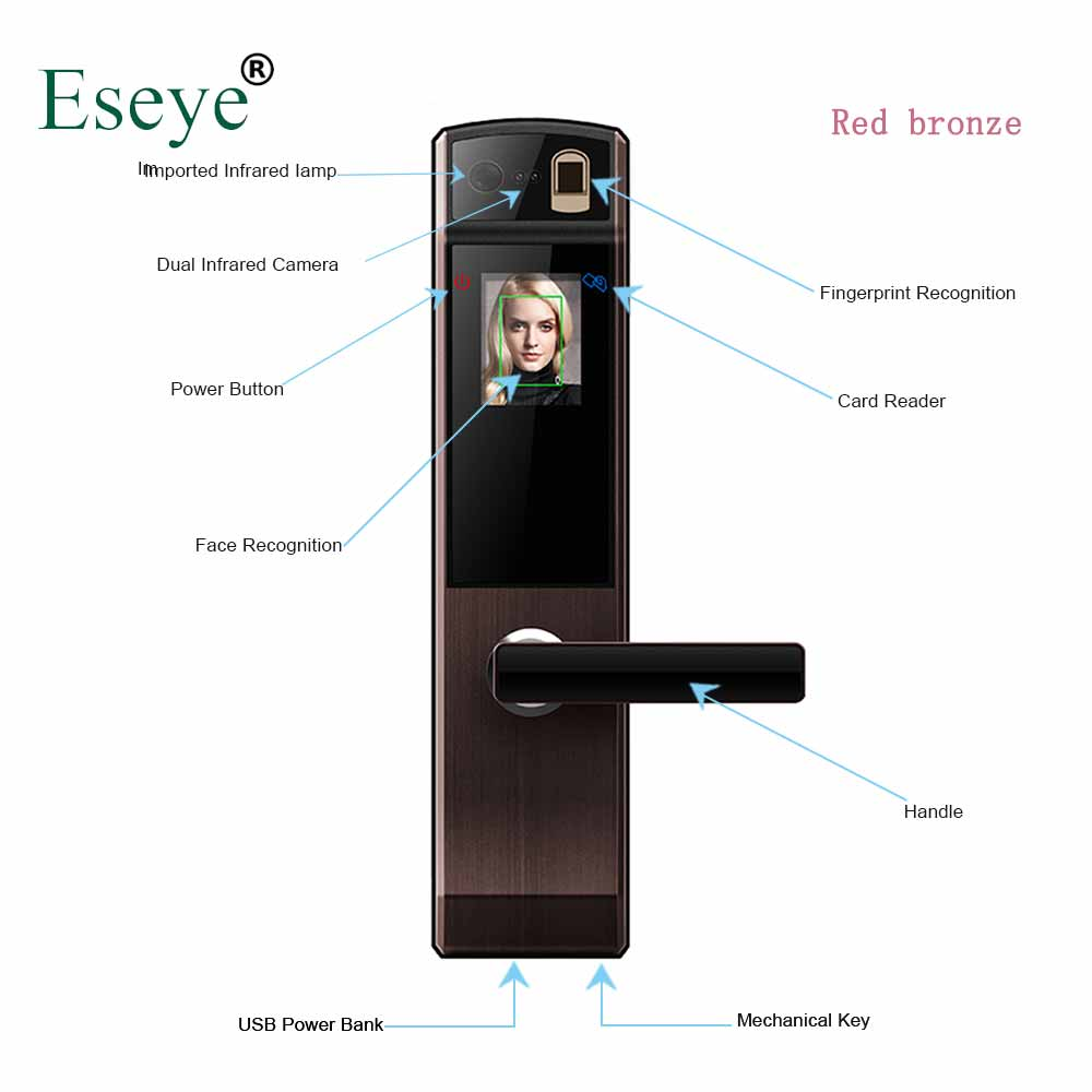 Eseye serrure de porte électronique intelligente coffre-fort intelligent reconnaissance de visage serrures de porte empreinte digitale serrure de porte numérique mot de passe et RFID déverrouillage