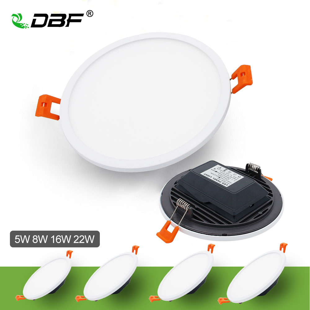 [DBF]Upgrade Round Panel Light 5W 8W 16W 22W 4014 SMD Ultra thin Ceiling Recessed Downlight with AC85-265V Build-in LED Driver 5w 10w rgb rgbw led ceiling panel light ac85 265v embedded recessed downlight bulb changable with 24 key remote control