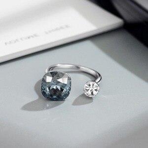 Image 5 - Neoglory crystal & rhinestone design quadrado anel de dedo cor dupla para clássico feminino embelezado com cristais de swarovski