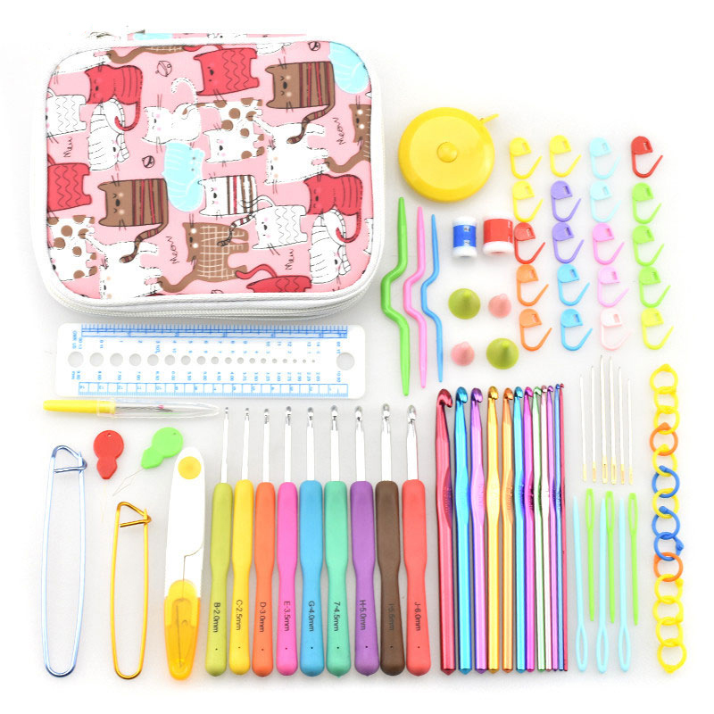 Looen Crochet Hook Set Soft Rubber Handle Yarn Knitting Needles Rulers Sewing Accessory with Bag