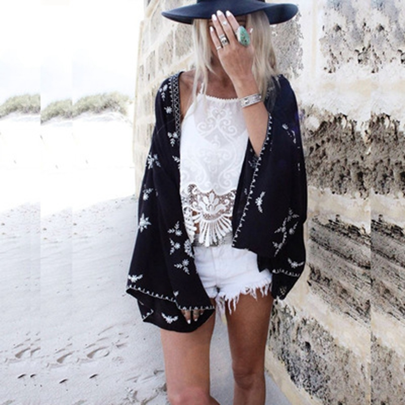Pareo Cover Up Vintage Black Print Beach Chiffon Bikini Robe De Plage Summer Beach Wear Cardigan Bathing Dress Women Swimsuit