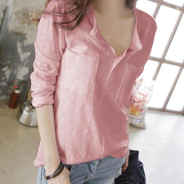 Gkfnmt Vetement Femme 2018 coréen T-Shirt femmes décontracté col en v Femme haut à manches longues T-Shirt Femme Ropa Mujer rose grande taille 3XL