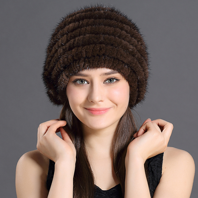 Natural Thicken Hats Winter Russian Female Solid Color Knitted Protective  Head With Beautiful Flowers Warmed Woman 443e828745d0