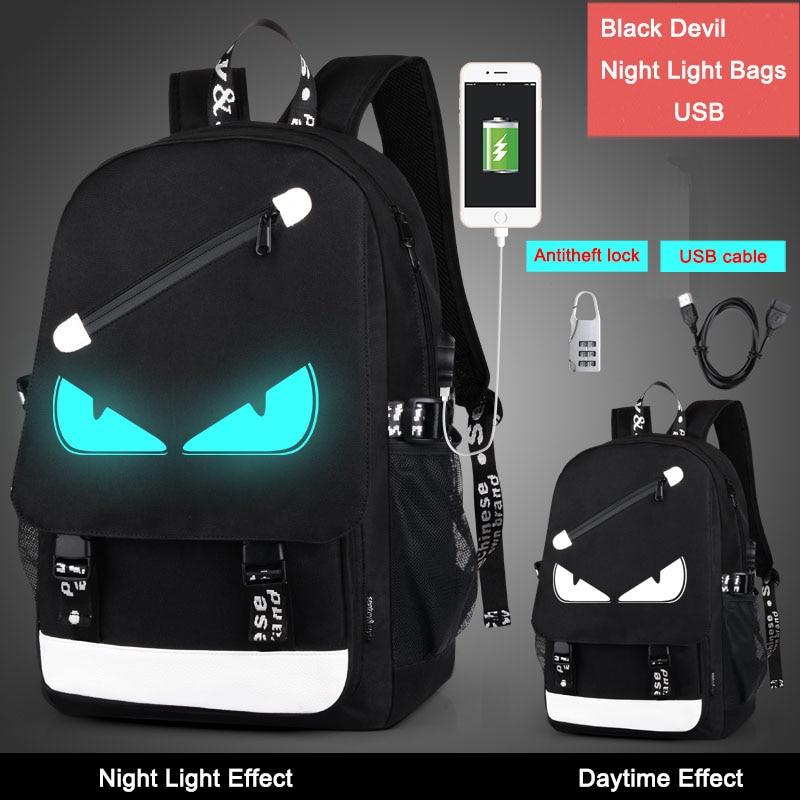 ड्रॉप शिपिंग 2019 पुरुष महिला लड़के लड़कियों के रात के प्रकाश बैग बड़े क्षमता वाले कार्टून स्कूल बैग बहुत ही कूल एंटी-चोरी बैकपैक्स