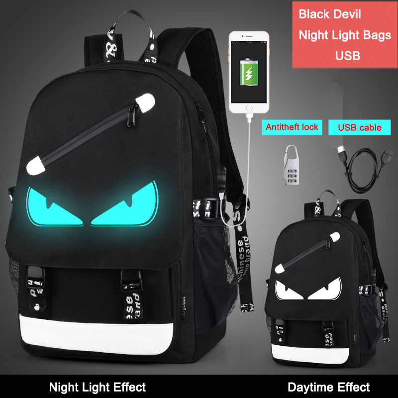 DropShipping 2017 Fashion Men Women Boys Night Light Cartoon School Bags anti theft Backpack with free USB line+Anti-theft lock