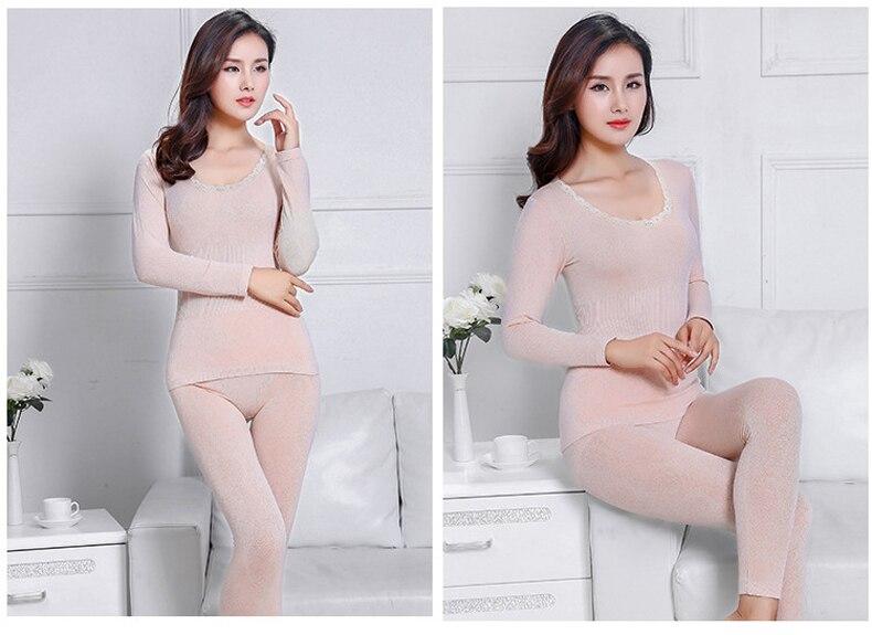 Jerrinut thermal underwear women long johns women for winter Warm long johns cotton sexy thermal underwear set for women 3
