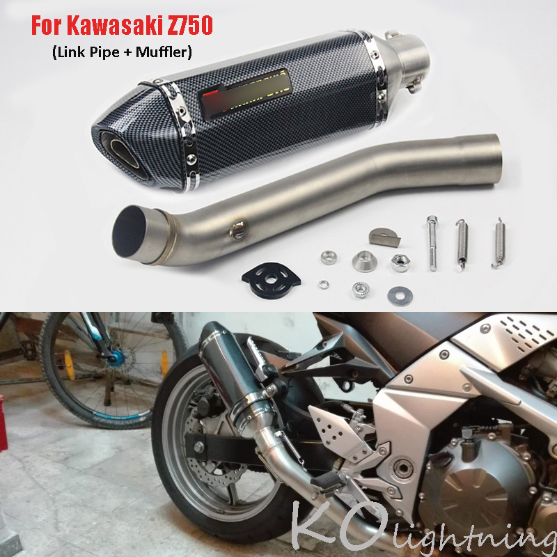 For <font><b>Kawasaki</b></font> <font><b>Z750</b></font> Motorcycle <font><b>Exhaust</b></font> Muffler Mid Link Pipe Slip On <font><b>Exhaust</b></font> System For <font><b>Kawasaki</b></font> <font><b>Z750</b></font> 2007-2013 Years image