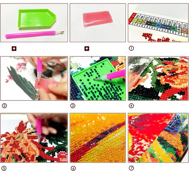 5D DIY Diamond Painting Beautiful Flower Picture 3D Diamond Embroidery Full Drill Cross Stitch Rhinestone Mosaic Painting