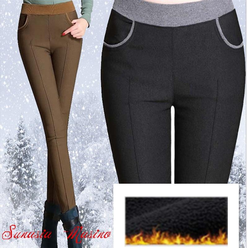 2018 artı boyutu bayan giyim xl xxl 3xl 4xl 5xl 6xl moda Marka pantolon kadın kış Yüksek Kaliteli pantalon femme sıcak pantolon