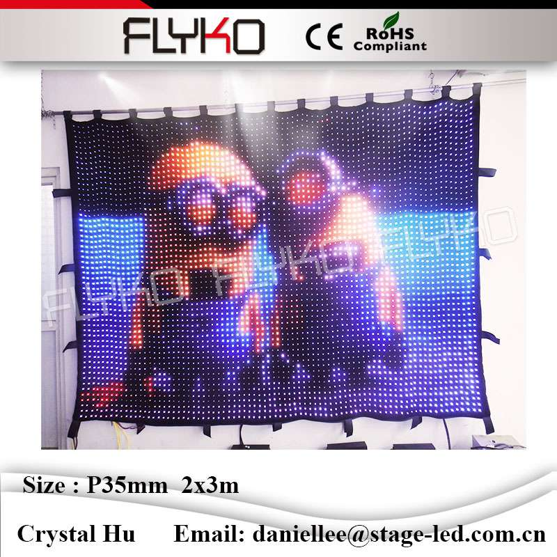 Full color lovely naughty cartoon xxx video / image / graphic ceiling led curtain P35mm 2x3m