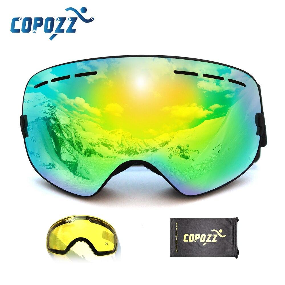 COPOZZ marque professionnel ski lunettes 2 double lentille anti-brouillard faible lumière anti-brouillard sphérique ski lunettes hommes femmes de neige lunettes
