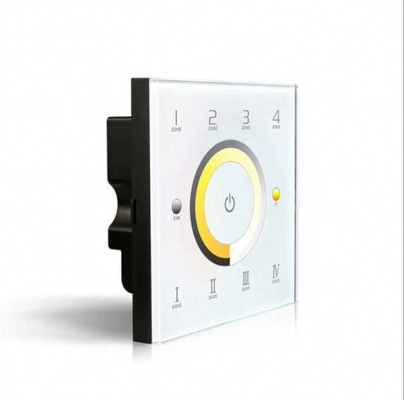 ФОТО D7 DMX dimmer touch panel switch & CCT Color temperature adjustment 4 zone DMX512 controller Wall Mount DC12V-24V