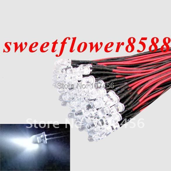 Free shipping 100pcs White LED Lamp Light Set 20cm Pre-Wired 3mm 5V DC Wired