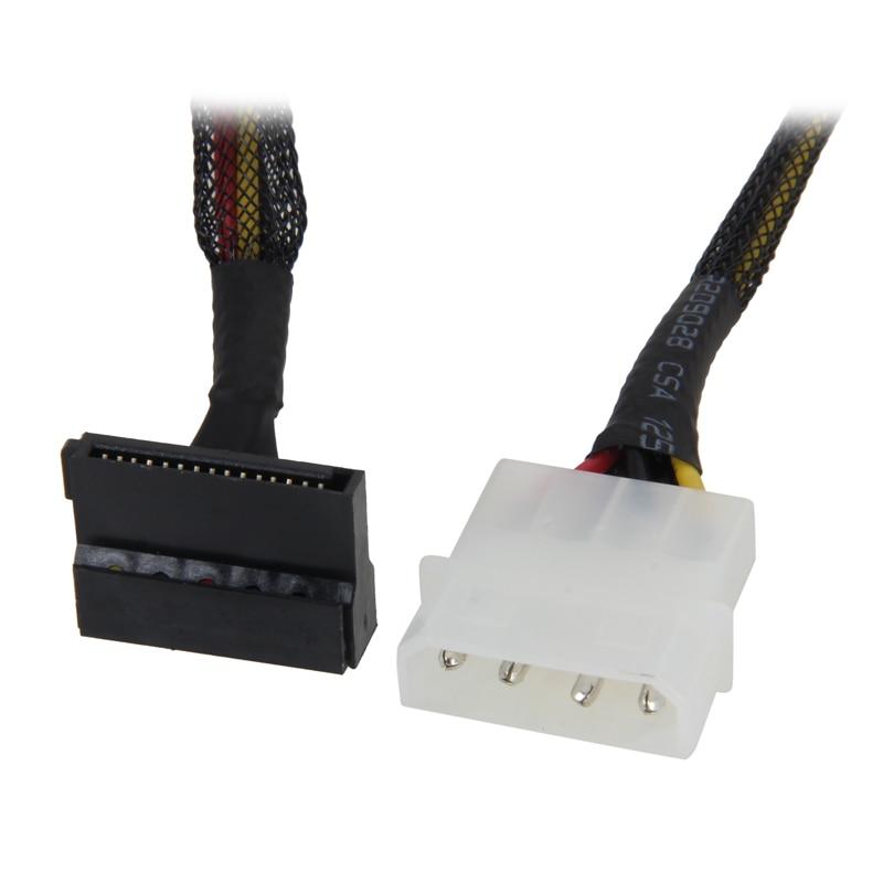18 inch Molex 4 pin Male to Right Angle 3 x SATA Power 15 pin 90 ...