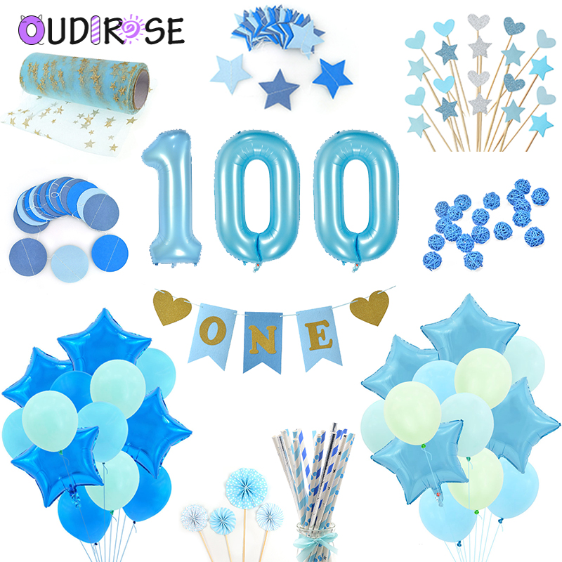 Ballons & Accessories Festive & Party Supplies Straightforward Oudirose Blue Theme Party Balloon Baby Birthday Party Decoration 1year Garland Baby Shower Girl Happy Birthday Party Balloon Toy