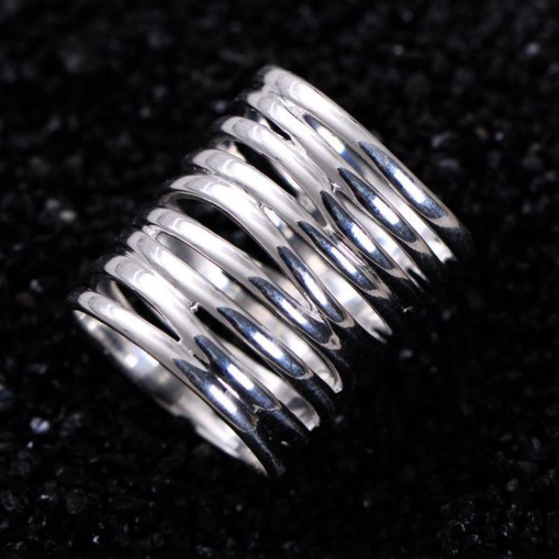 Real Pure 925 Sterling Silver Braided Rings For Women Vintage Twisted Wide Rings Aneis Feminino handmade stripe pattern exaggerated flower leaves rings wide real pure 999 sterling silver rings for women lady vintage jewelry