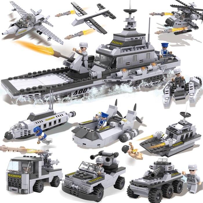 Playmobil Military Spaceship Building Blocks Sets Montessori Brick Boy Toys Brinquedos Meninos XBL13007