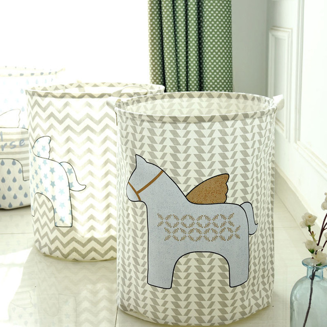 Large Folding Waterproof Dirty Toy Clothe Laundry Basket Horse Linen Office Home Sundries Storage Holder Organizer Project Box