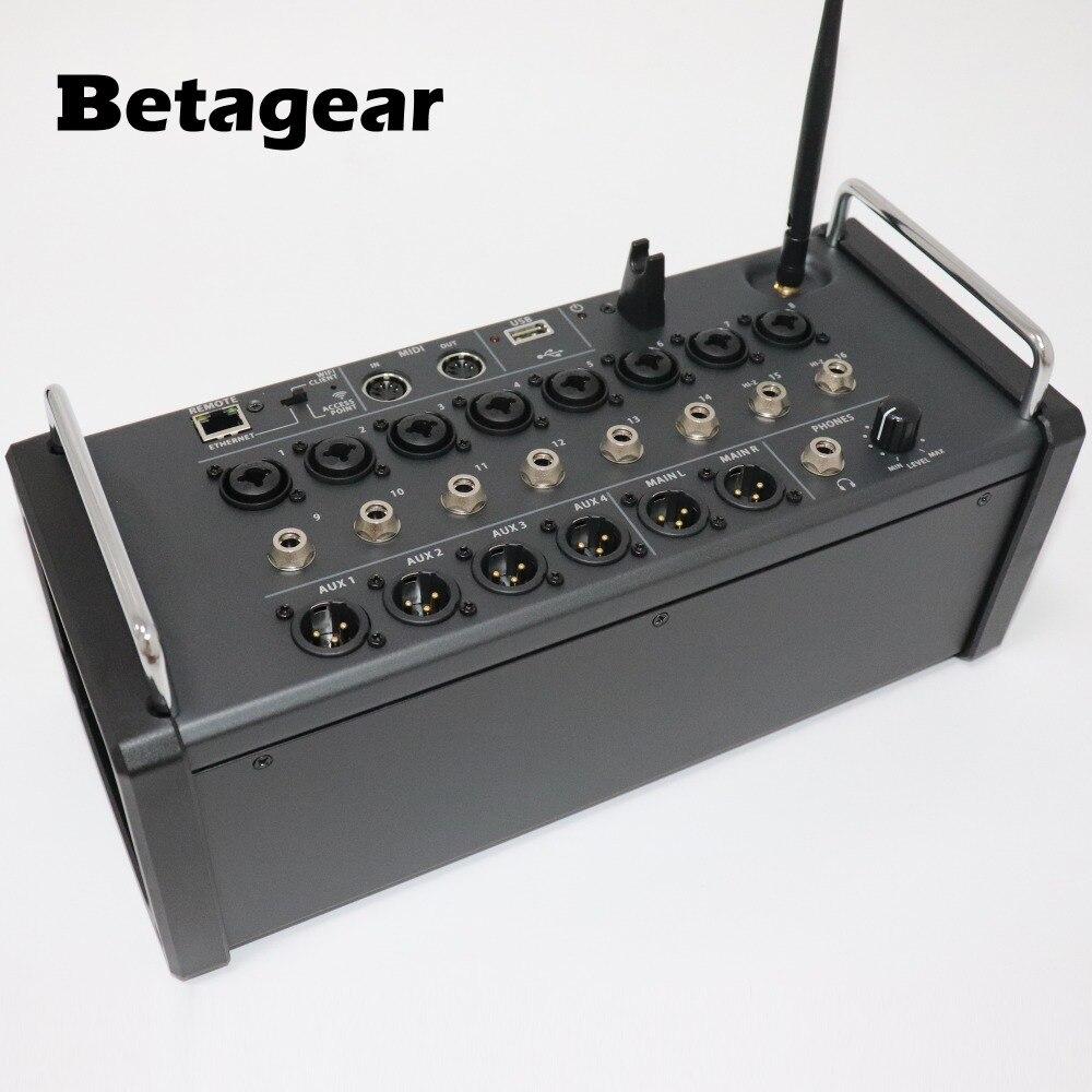 Betagear mezclador Digital de 16 canales para tabletas Ipad/Android 8 preamperios probables, módulo Wifi integrado y grabadora estéreo USB XR16