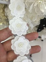 Off White 3D Applique Pearl Lace Fabric Clothing Accessories Collar Flower Diy Handmade Beading Lace