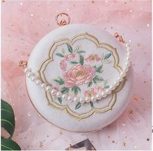 Angelatracy 2019 New Arrival Vintage Lady Pearl Chain Circular Embroidery Floral Flower Box Evening Bag Handbag Day Clutches