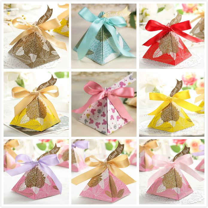 Gold Pyramid Favor Boxes : Gold pink yellow red blue triangular pyramid leaves