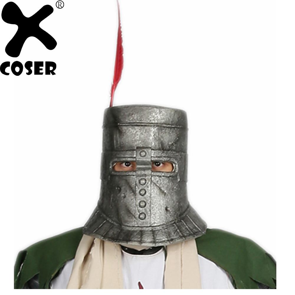 XCOSER Dark Souls Solaire Cosplay Casque Argent Gris Latex Casque Pleine Tête Film Costume Casques Pour Halloween Party