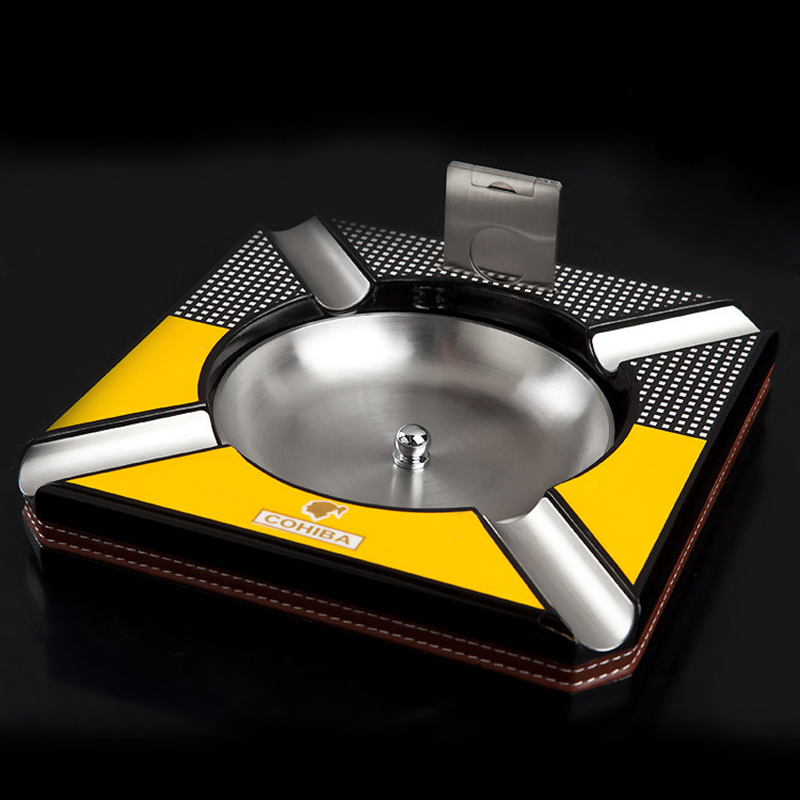 Free Shipping Cohiba Hi Q Square Temperature Paint Wooden Metal Detachable Bowl Cigar Ashtray Cutter